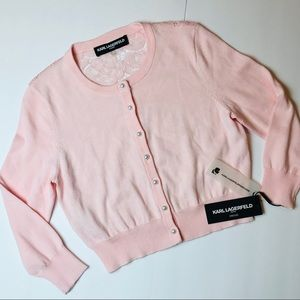 New KARL LAGERFELD Pink KNIT & LACE Cardigan TOP S